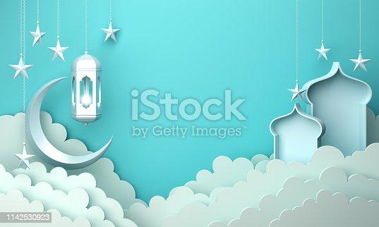 1130047135istockphoto Arabic lantern, cloud, crescent moon star, window on blue pastel background copy space text. 1142530923