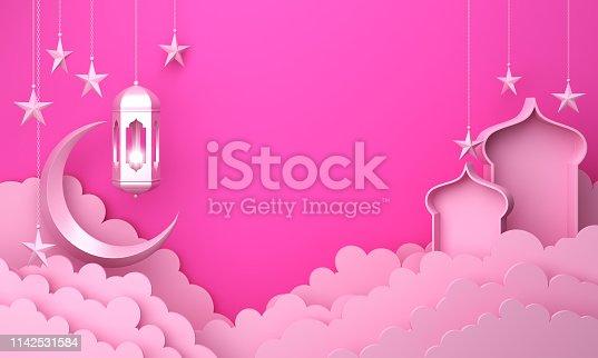 1142531551istockphoto Arabic lantern, cloud, crescent moon star, window on pink pastel background copy space text 1142531584