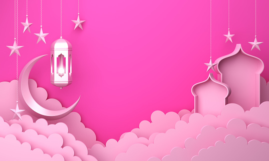 1142531551 istock photo Arabic lantern, cloud, crescent moon star, window on pink pastel background copy space text 1142531584