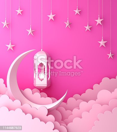 1142530010 istock photo Arabic lantern, cloud, crescent, on green pastel background copy space text 1144687523