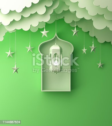 1142530010 istock photo Arabic lantern, cloud, crescent, on green pastel background copy space text 1144687524
