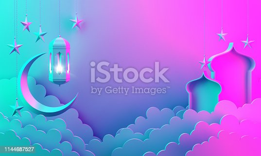 1142530010 istock photo Arabic lantern, cloud, crescent, on green pastel background copy space text 1144687527