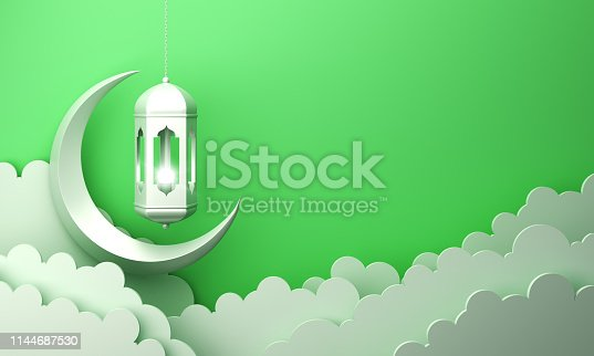 1142530010 istock photo Arabic lantern, cloud, crescent, on green pastel background copy space text 1144687530