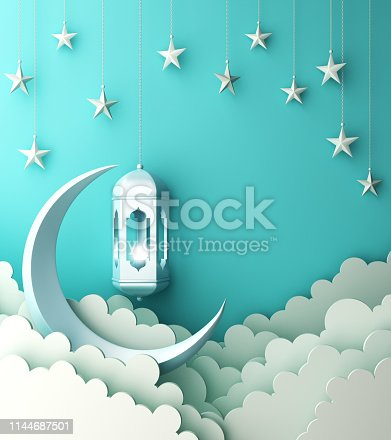 1142530010istockphoto Arabic lantern, cloud, crescent, star on blue pastel background copy space text. 1144687501