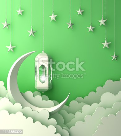 1142530010 istock photo Arabic lantern, cloud, crescent, star on green pastel background copy space text. 1145380320