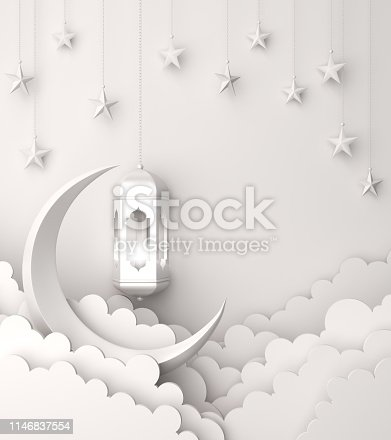 1142727715 istock photo Arabic lantern, cloud, crescent, star on white background copy space text. 1146837554
