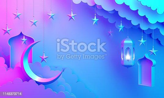 1142530010 istock photo Arabic lantern, cloud, crescent star, window on blue pink gradient background copy space text. 1145373714