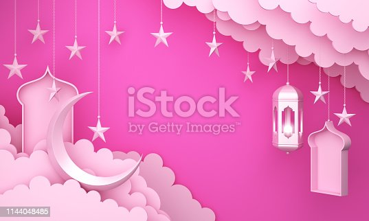 1130047135istockphoto Arabic lantern, cloud, crescent star, window on pink pastel background copy space text. 1144048485