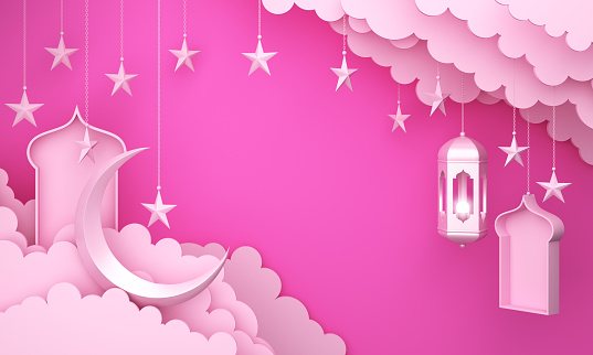 1142326460 istock photo Arabic lantern, cloud, crescent star, window on pink pastel background copy space text. 1144048485