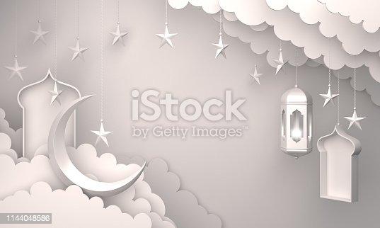 1130047135istockphoto Arabic lantern, cloud, crescent star, window on white background. 1144048586