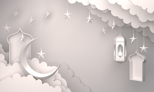 1130047135 istock photo Arabic lantern, cloud, crescent star, window on white background. 1144048586