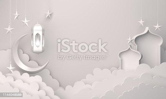 1130047135istockphoto Arabic lantern, cloud, crescent star, window on white background. 1144048588