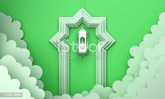 1142530010 istock photo Arabic lantern, cloud, door on green pastel background copy space text. 1145375884