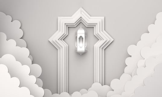 1130047135 istock photo Arabic lantern, cloud, door on white background copy space text. 1146837606