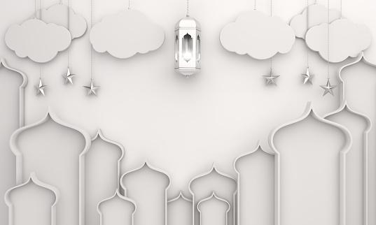1142326460 istock photo Arabic lantern, crescent, cloud, star, window on white background. 1164822187
