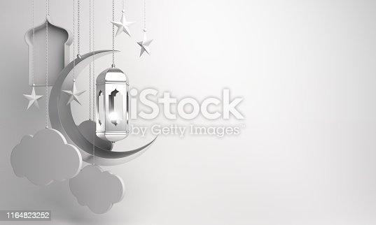 1130047135istockphoto Arabic lantern, crescent, cloud, star, window on white background. 1164823252