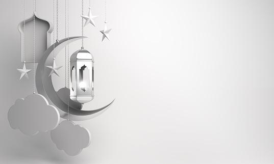 1130047135 istock photo Arabic lantern, crescent, cloud, star, window on white background. 1164823252