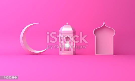1142727715istockphoto Arabic lantern, crescent moon, window on pink pastel background. 1142529994