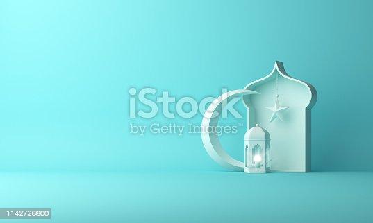 1142530010 istock photo Arabic lantern, crescent star, window on blue pastel background copy space text. 1142726600