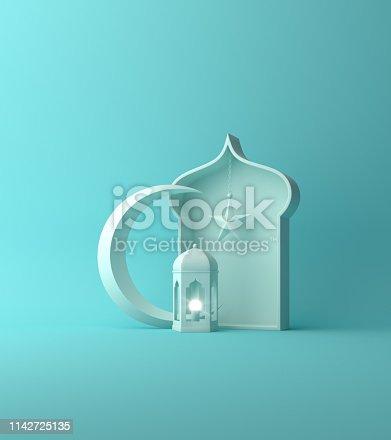 1142530010 istock photo Arabic lantern, crescent star, window on blue pastel. 1142725135