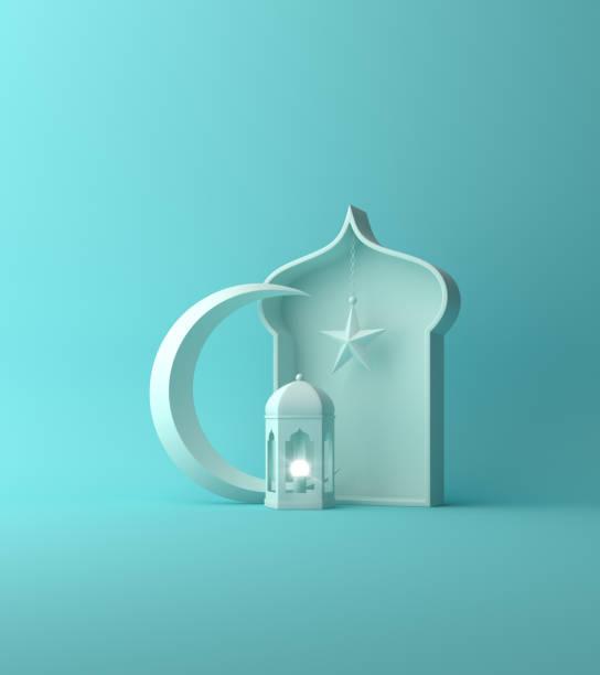 linterna árabe, estrella creciente, ventana en pastel azul. - ramadán fotografías e imágenes de stock