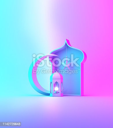 1142530010 istock photo Arabic lantern, crescent star, window on blue pink gradient background. 1142725643