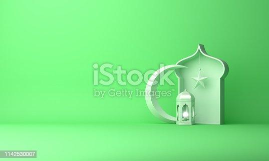 1130047135istockphoto Arabic lantern, crescent star, window on green pastel background. 1142530007