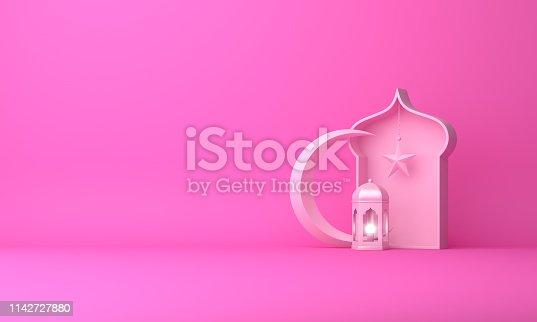istock Arabic lantern, crescent star, window on pink pastel background copy space text. 1142727880