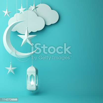 1142530010 istock photo Arabic lantern, hanging cloud, crescent star on blue pastel background. 1142726888