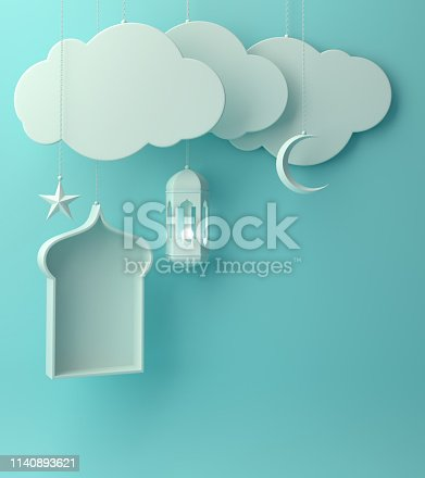 1142530010 istock photo Arabic lantern, hanging cloud, crescent star, window on blue pastel background copy space text. 1140893621
