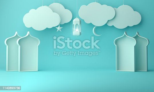1142530010 istock photo Arabic lantern, hanging cloud, crescent star, window on blue pastel background copy space text 1140893736