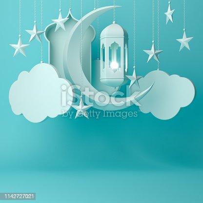 1142530010 istock photo Arabic lantern, hanging cloud, crescent star, window on blue pastel background. 1142727021