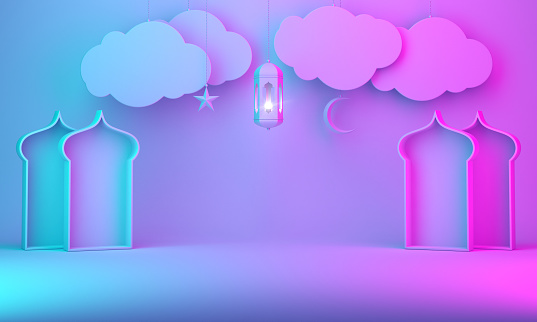 1142531551 istock photo Arabic lantern, hanging cloud, crescent star, window on blue pink gradient background space text 1142326366