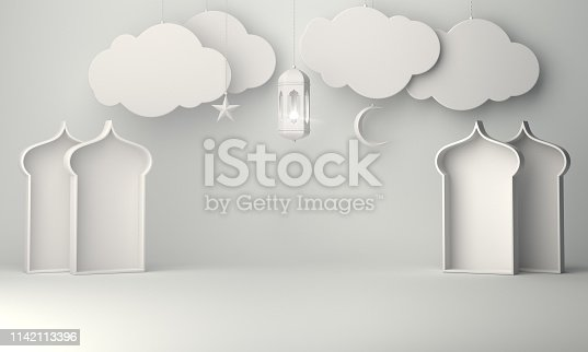 1130047135istockphoto Arabic lantern, hanging cloud, crescent star, window on white background copy space text. 1142113396