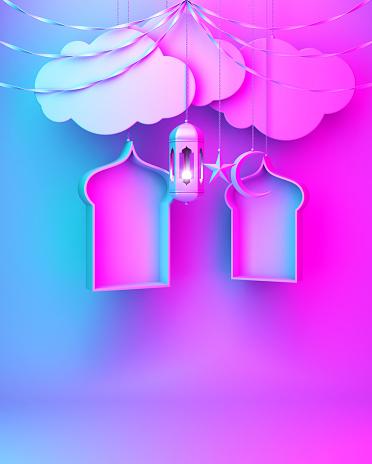 1142326460 istock photo Arabic lantern, hanging cloud, crescent star, window, ribbon on blue pink gradient background. 1142327237