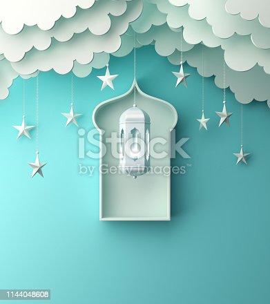 1142530010 istock photo Arabic lantern, hanging cloud, star, window on blue pastel background. 1144048608