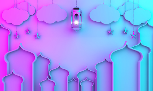 istock Arabic lantern, hanging cloud, star, window on blue pink gradient background. 1163124930