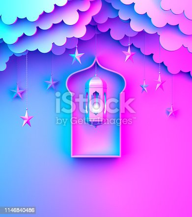1142727715 istock photo Arabic lantern, hanging cloud, star, window on blue pink violet gradient background copy space text. 1146840486