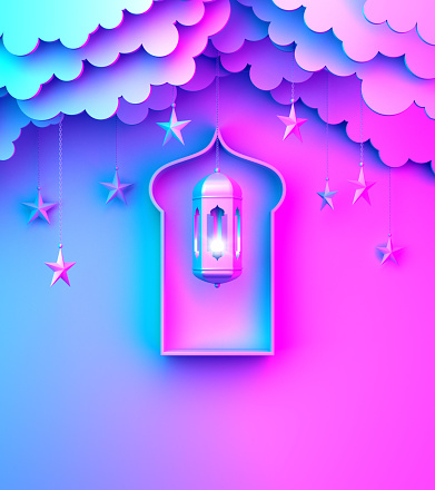 1142531551 istock photo Arabic lantern, hanging cloud, star, window on blue pink violet gradient background copy space text. 1146840486