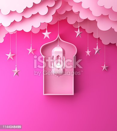 1142326460istockphoto Arabic lantern, hanging cloud, star, window on pink pastel background copy space text. 1144048499