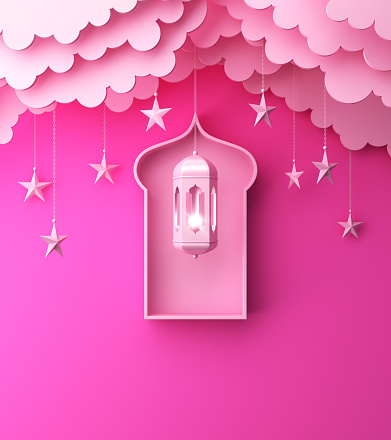1142326460 istock photo Arabic lantern, hanging cloud, star, window on pink pastel background copy space text. 1144048499