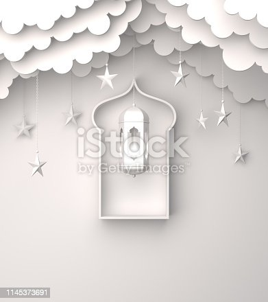1142530010 istock photo Arabic lantern, hanging cloud, star, window on white background copy space text. 1145373691