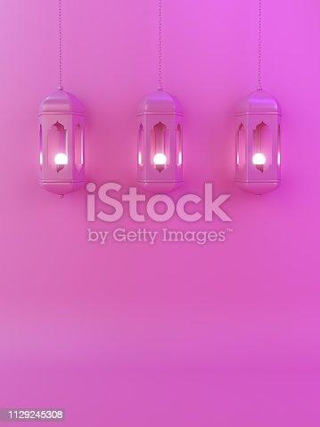1142531551istockphoto Arabic lantern on pink gradient pastel background copy space text. 1129245308