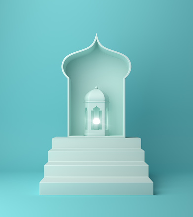 istock Arabic lantern window and steps on blue pastel background. 1142326453