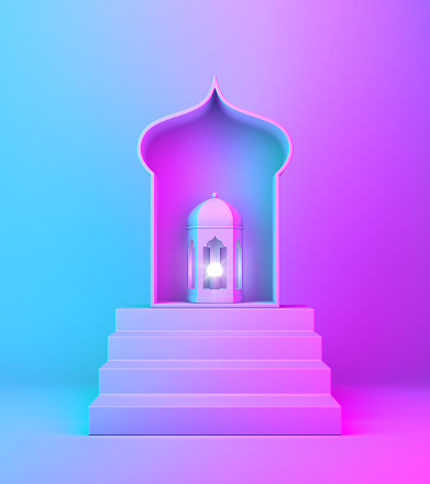 istock Arabic lantern, window and steps on blue pink violet gradient background. 1142327285