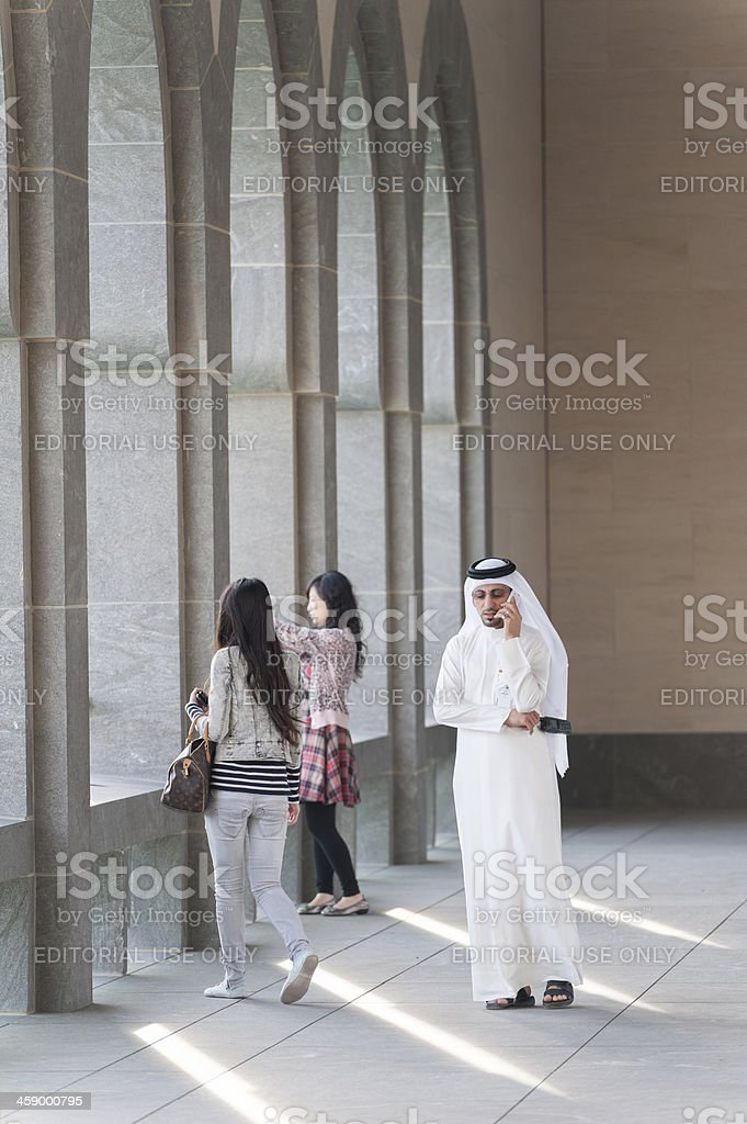 arabic man at the museum of Islamic Art in Doha stock photo