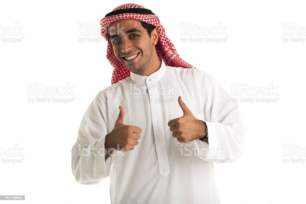 Arabic man giving thumbs up royalty-free stock photo