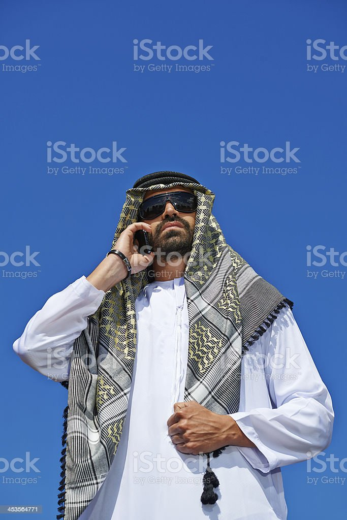 Arabic Man on the Phone stock photo