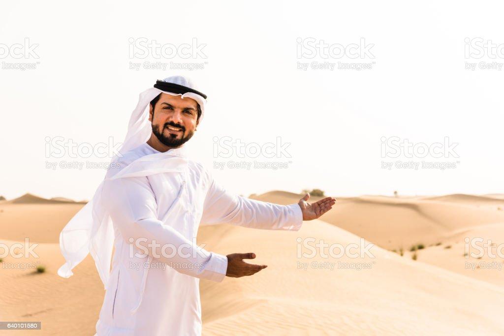 arabic man showing his heritage stock photo