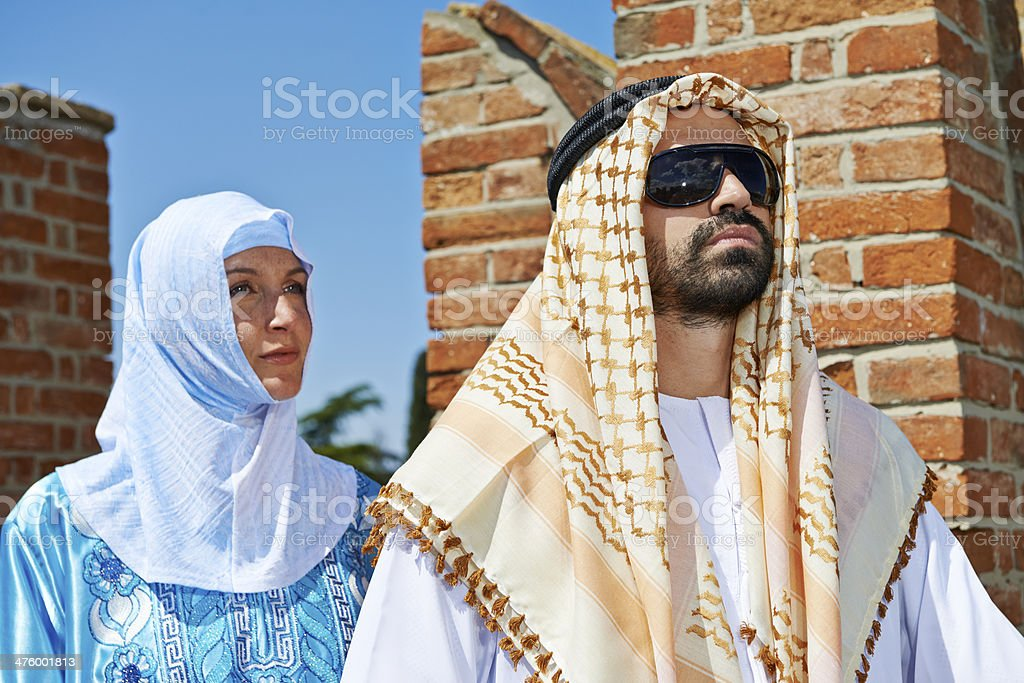 Arabic Man with His Woman stock photo